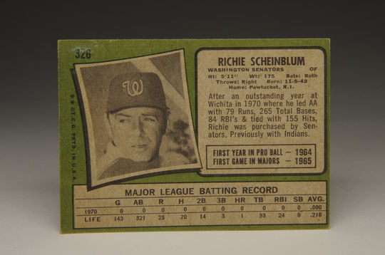Reverse side of the 1971 Richie Scheinblum Topps card. (Milo Stewart, Jr. / National Baseball Hall of Fame)