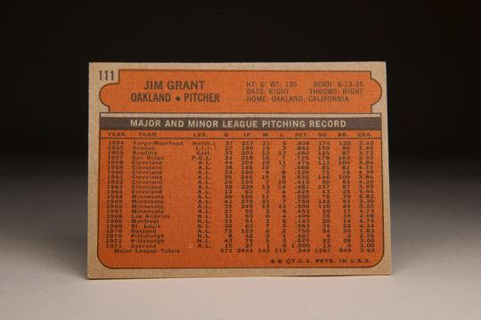 "The reverse side of the 1972 Jim ""Mudcat"" Grant Topps card. (Milo Stewart Jr. / National Baseball Hall of Fame)"
