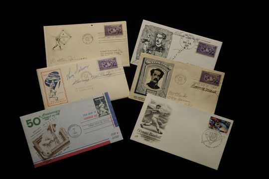 Stamp cachets with Hall of Fame-themed stamps have become a favorite of collectors around the world. Many feature cancellations from the Cooperstown Post Office. (Milo Stewart, Jr., National Baseball Hall of Fame Library)