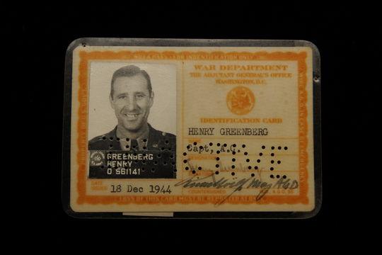 Hank Greenberg's military identification card. B-31.98 (Milo Stewart, Jr., National Baseball Hall of Fame Library)