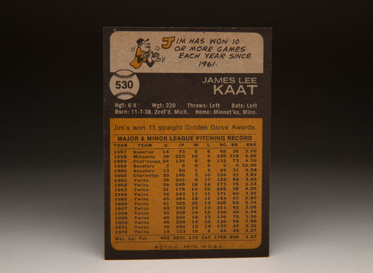 The reverse side of the 1973 Jim Kaat Topps card. (Milo Stewart Jr. / National Baseball Hall of Fame)