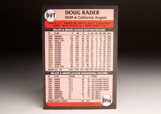 The reverse side of the 1989 Doug Rader Topps card. (Milo Stewart Jr. / National Baseball Hall of Fame)
