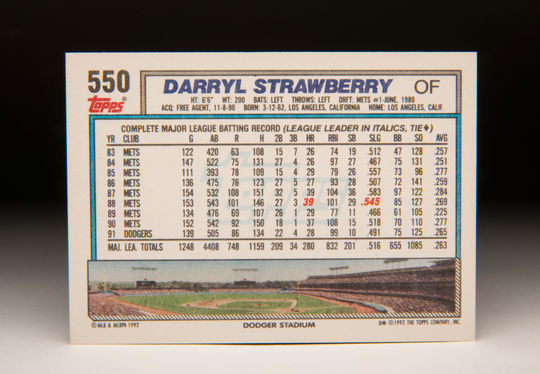 The reverse side of the 1992 Darryl Strawberry Topps card. (Milo Stewart Jr. / National Baseball Hall of Fame )