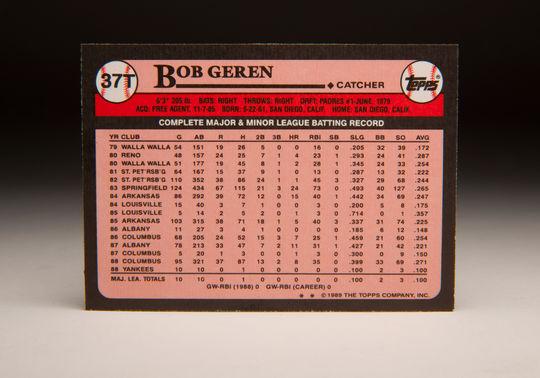 The reverse side of the 1989 Bob Geren Topps card. (Milo Stewart Jr. / National Baseball Hall of Fame)