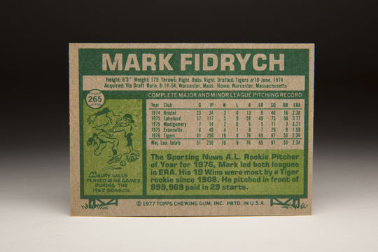 The back of the 1977 Topps Mark Fidrych card. (Milo Stewart, Jr. / National Baseball Hall of Fame)
