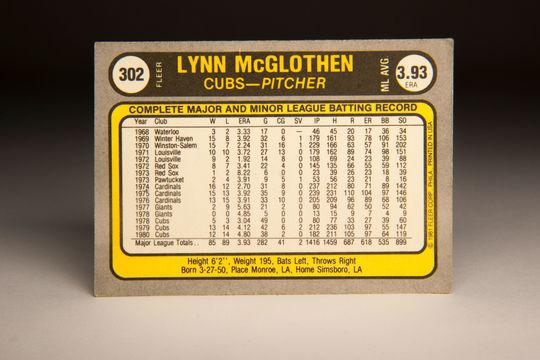 Reverse side of the 1981 Lynn McGlothen Fleer card. (Milo Stewart Jr. / National Baseball Hall of Fame)