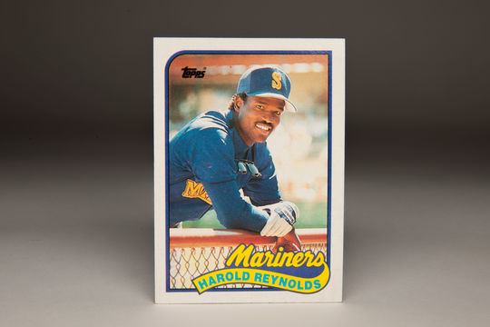 1989 Harold Reynolds Topps card, shot by Doug McWilliams. (Milo Stewart Jr. / National Baseball Hall of Fame)