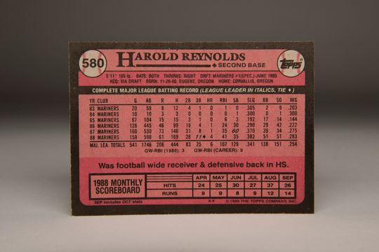 Reverse side of the 1989 Harold Reynolds Topps card. (Milo Stewart Jr. / National Baseball Hall of Fame)