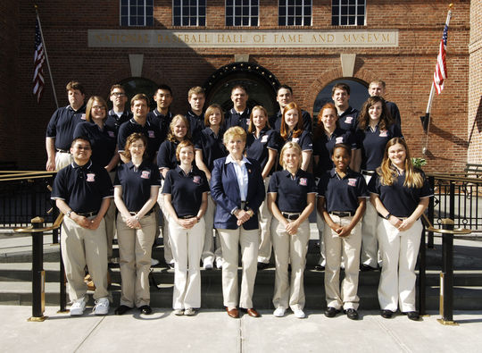 The 2008 Steele interns pose with Peggy Steele in front of the National Baseball Hall of Fame and Museum. Mike Scholl is in the back row, fourth from the right. (Milo Stewart Jr./National Baseball Hall of Fame and Museum)