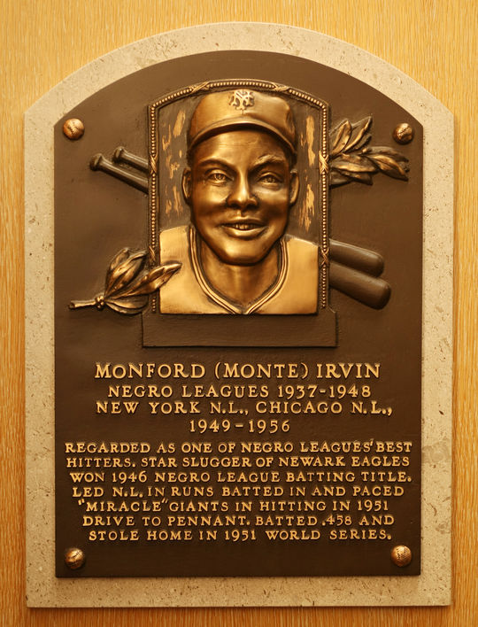 Monte Irvin's was elected to the Hall of Fame in 1973. (Milo Stewart, Jr. / National Baseball Hall of Fame)