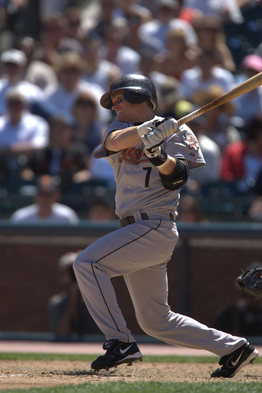 Craig Biggio would play with the Houston Astros for his entire career, from 1988-2007. (Brad Mangin / National Baseball Hall of Fame and Museum)