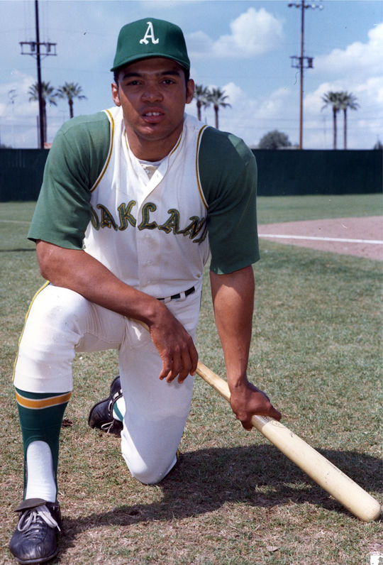 Reggie Jackson was playing right field when Ollie Brown was traded to the Athletics, but after the trade Jackson was moved to center so Brown could play right. (National Baseball Hall of Fame and Museum)
