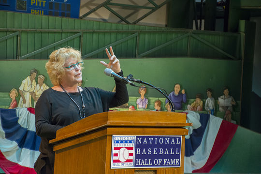 """Jane Leavy gave the keynote speech at the Cooperstown Symposium on Baseball and American Culture this year, entitled """"Finding George: The Unique Challenge of Writing a Sports Biography."""" (Milo Stewart Jr./National Baseball Hall of Fame)"""