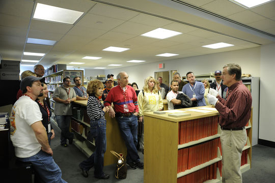 Hall of Fame Librarian Jim Gates gives VIP Experience guests a tour of the Museum's Giamatti Research Center. The Hall of Fame Library houses more than three million documents. (Milo Stewart, Jr. / National Baseball Hall of Fame)