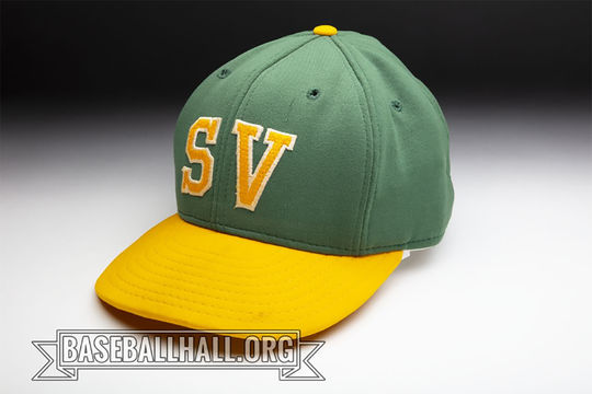 Jodi Haller wore this hat when pitching for St. Vincent College in Pennsylvania. (Milo Stewart Jr./National Baseball Hall of Fame and Museum)