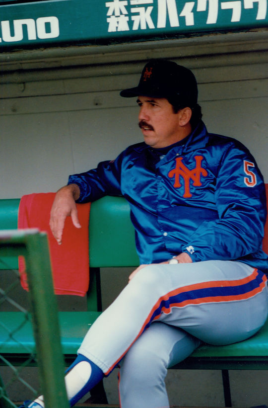 Bud Harrelson rejoined the Mets coaching staff in 1985, where he served under Davey Johnson (pictured above). (National Baseball Hall of Fame and Museum)