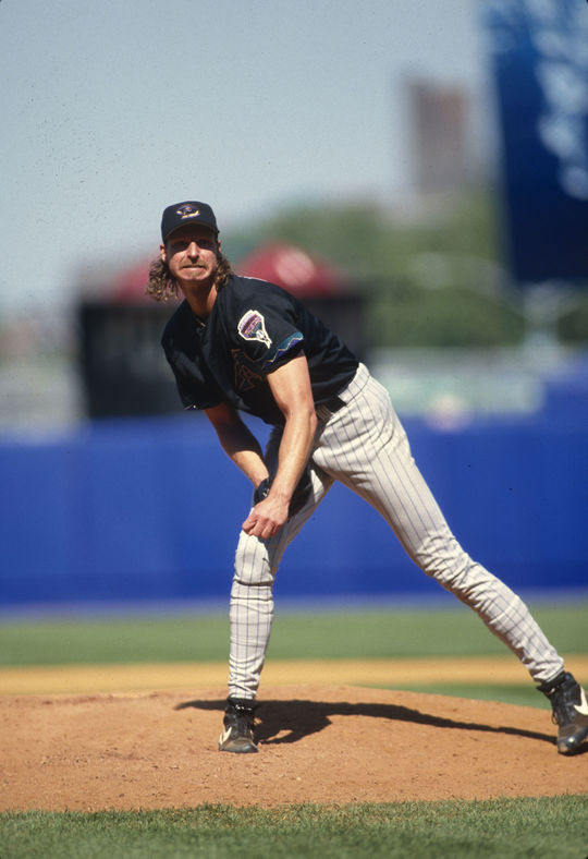 Randy Johnson ended his 2001 campaign with a career-high 372 strikeouts and his third straight NL Cy Young Award. (Michael Ponzini/National Baseball Hall of Fame and Museum)