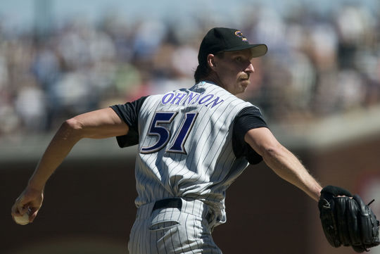Despite Randy Johnson's 20 strikeouts on May 8, 2001, he was not credited with the win as the Diamondbacks needed extra innings to defeat the Reds. (Brad Mangin/National Baseball Hall of Fame and Museum)