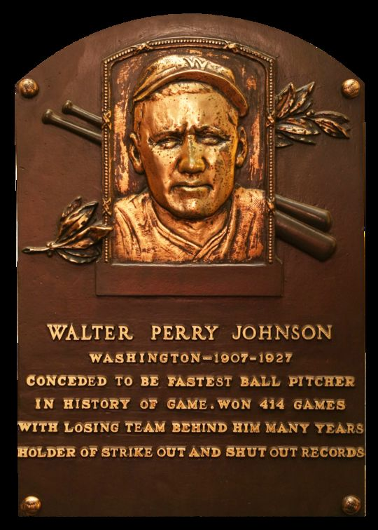 Walter Johnson's status as perhaps the fastest pitcher of baseball's early decades was confirmed with his Hall of Fame plaque in 1936. (National Baseball Hall of Fame)