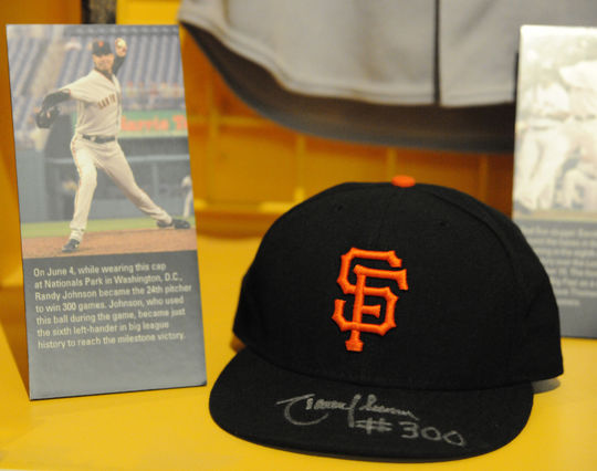 Randy Johnson wore this cap when he became the 24th pitcher to win 300 games. (Milo Stewart, Jr. / National Baseball Hall of Fame)