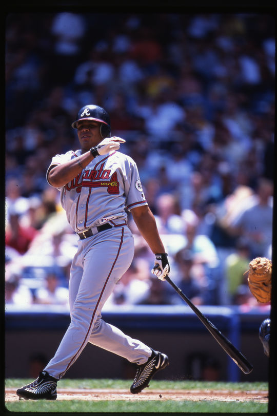 Andruw Jones debuted in the big leagues in 1996 and helped the Braves advance to the World Series, where he batted .400 with two home runs in the Fall Classic. (Rich Pilling/National Baseball Hall of Fame and Museum)