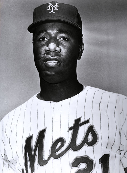 """Pedro Borbon earned the nickname """"Dracula"""" when he took a bite out of a hat belonging to Cleon Jones (pictured above), leaving a sizable hole in it. (National Baseball Hall of Fame)"""