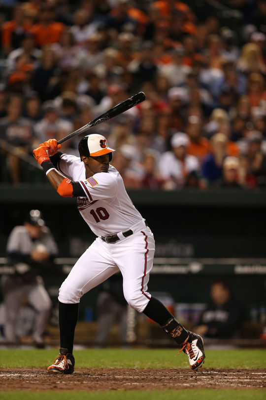Baltimore Orioles' center fielder Adam Jones celebrated Jackie Robinson Day by wearing custom cleats from Nike's Black History Month collection. (Courtesy of the Baltimore Orioles/National Baseball Hall of Fame and Museum)