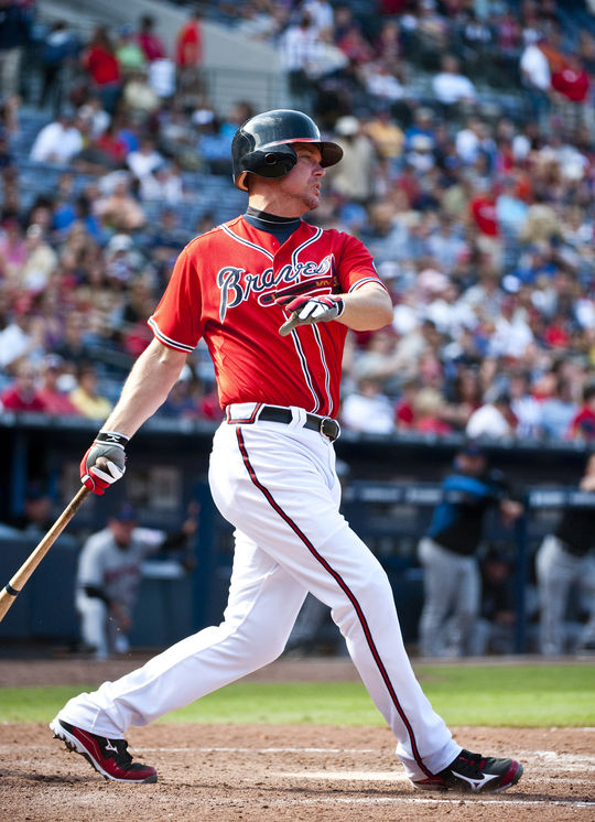 Chipper Jones is one of only nine players in big league history with at least 400 home runs, a .300 average, a .400 on-base percentage and a .500 slugging average. (Photo by Pouya Dianat/Atlanta Braves/Getty Images)
