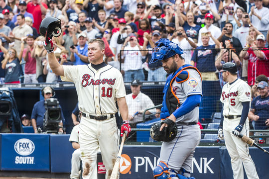 Chipper Jones waves to fans during the game against the New York Mets during his final game at Turner Field on Sept. 30, 2012.  (Pouya Dianat / Atlanta Braves)