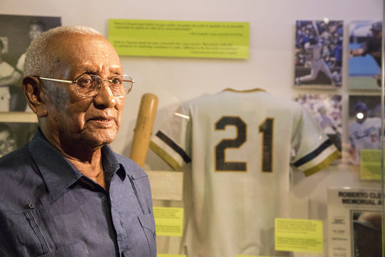 Justino Clemente, older brother of Hall of Famer Roberto Clemente, visited the Hall of Fame for the first time on Sept. 29, 2018. (Milo Stewart Jr./National Baseball Hall of Fame and Museum)