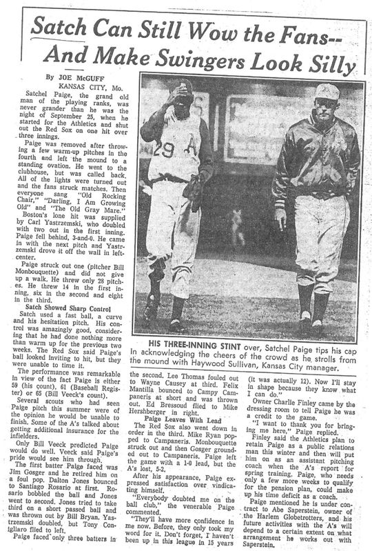 The Kansas City Star's recap of  Satchel Paige's last major league start at age 59. (National Baseball Hall of Fame Library)