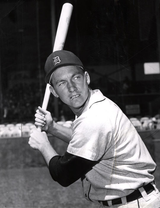 Al Kaline shows off his batting stance in 1956, three years after his big league debut. (National Baseball Hall of Fame)
