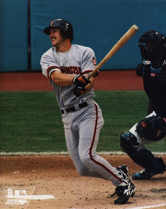 Jeff Kent of the San Francisco Giants batting in 1997. (National Baseball Hall of Fame)