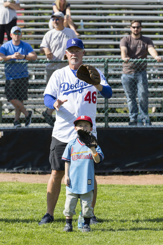 Former big league pitcher Kevin Gross plays catch with a young ballplayer during the 2018 Cooperstown Classic Clinic. (Milo Stewart Jr./National Baseball Hall of Fame and Museum)