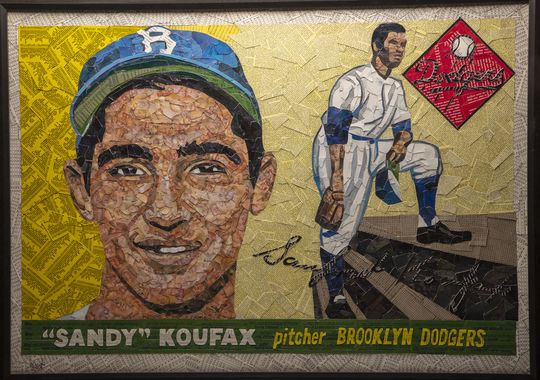 Artist Tim Carroll created this collage of baseball cards to form an image of Sandy Koufax's 1955 Topps card. The piece will be featured in the Hall of Fame's <em>Shoebox Treasures</em> exhibit. (Milo Stewart Jr./National Baseball Hall of Fame and Museum)