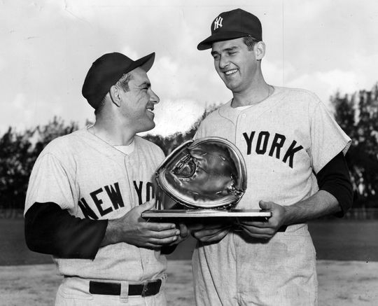 Don Larsen (right) teamed up with future Hall of Famer Yogi Berra for the first perfect game in World Series history on Oct. 8, 1956. (National Baseball Hall of Fame and Museum)
