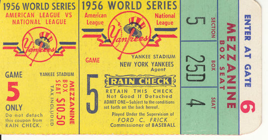 This ticket from Game 5 of the 1956 World Series is a part of the collection at the National Baseball Hall of Fame and Museum.