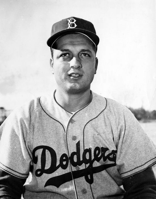 Hall of Famer Tommy Lasorda of the Brooklyn Dodgers poses for a picture in 1955. Lasorda pitched two seasons in Brooklyn and one in Kansas City before later going on to manage the Dodgers in Los Angeles from 1976-96. BL-2600-68 (National Baseball Hall of Fame Library)