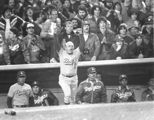 Los Angeles Dodgers manager Tommy Lasorda celebrates during the 1981 World Series. Lasorda managed the Dodgers for 21 years and won two World Series championships in Los Angeles. BL-51-82 (National Baseball Hall of Fame Library)