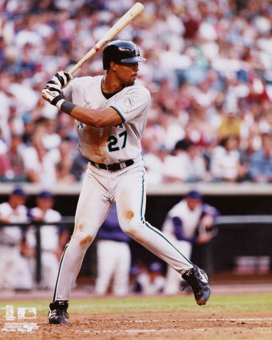Derrek Lee of the Florida Marlins batting in 1999. (National Baseball Hall of Fame)