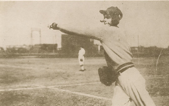 A postcard of Leona Kearns, pictured here mid-throw, in approximately 1925. (National Baseball Hall of Fame and Museum)