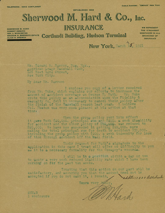 Letter from Sherwood Hard to Ed Barrow regarding insurance coverage on Babe Ruth, 1921. (National Baseball Hall of Fame Library)