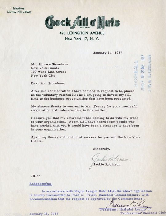 A letter of retirement sent to New York Giants owner Horace Stoneham by Jackie Robinson in 1957. BL-2254-2001 (National Baseball Hall of Fame Library)