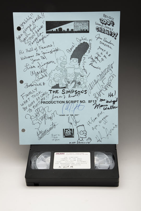 A signed copy of THE SIMPSONS 'Homer at the Bat' script and a tape of the episode are preserved in the Hall of Fame's Collection. (Milo Stewart Jr. / National Baseball Hall of Fame)