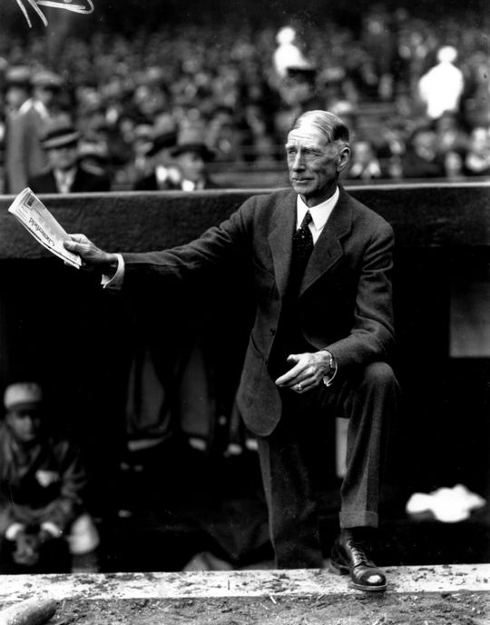 Connie Mack was an early advocate of protective headgear, predicting that batting helmets would be standard equipment in the future. (National Baseball Hall of Fame)