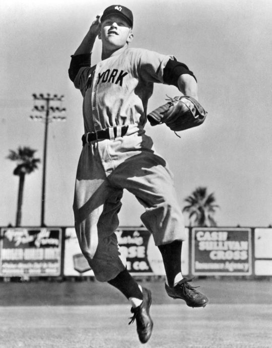 Hank Bauer roamed the outfield at Yankee Stadium with a number of future Hall of Famers, including Mickey Mantle, pictured above. (National Baseball Hall of Fame and Museum)