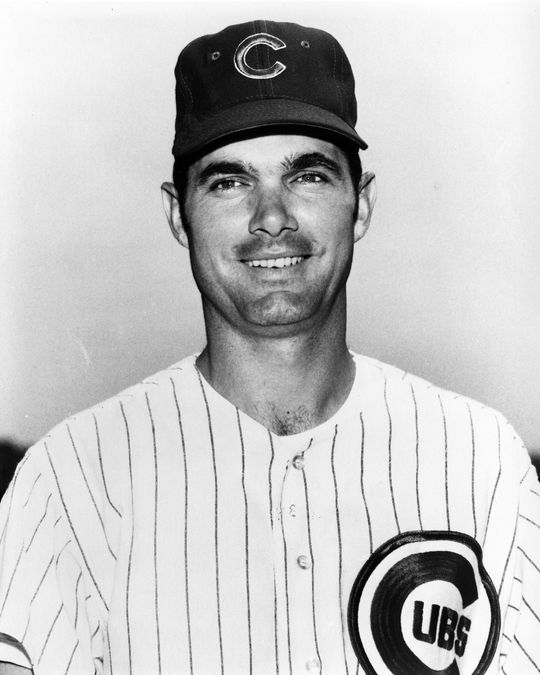 In Game 4 of the 1969 World Series, J.C. Martin of the Mets (pictured above in a Cubs uniform) brought home the winning run when a throw from Pete Richert on a bunt hit Martin in the wrist, allowing Rod Gaspar to score. The Mets won the World Series the following day. (National Baseball Hall of Fame and Museum)