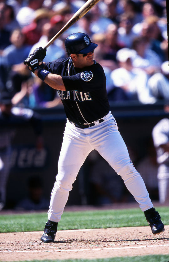 Edgar Martínez ranks as the Mariners' all-time leader in runs (1,219),  doubles (514), walks (1,283), RBI (1,261), extra-base hits (838) and total bases (3,718). (Brad Mangin/National Baseball Hall of Fame and Museum)