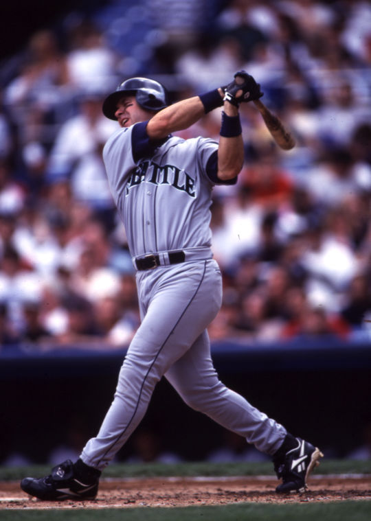 Edgar Martinez's two-run home run on June 26, 2003, brought his career RBI total to 1,153: A Seattle franchise record. (Michael Ponzini/National Baseball Hall of Fame and Museum)