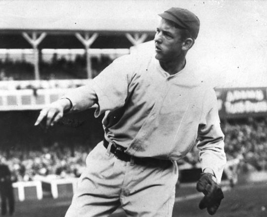 Christy Mathewson throws warm-up pitches before a game with the New York Giants. BL-2766-82 (National Baseball Hall of Fame Library)